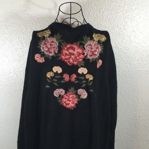 Torrid Long Floral Maxi Open Thick Knit Cardigan